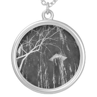 Column Under Weeping Tree Reverse Negative Round Pendant Necklace