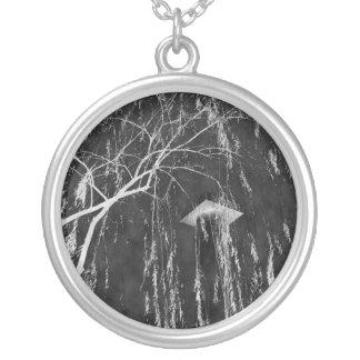 Column Under Weeping Tree Reverse Negative Round Pendant Necklace