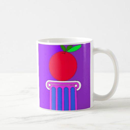 column with apple mugs