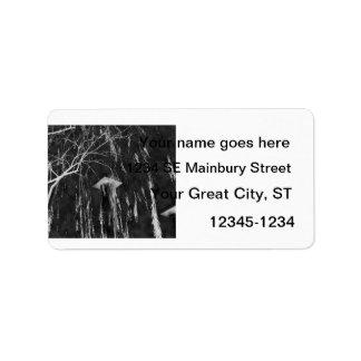 Columna bajo negativa reversa del árbol que llora etiqueta de dirección