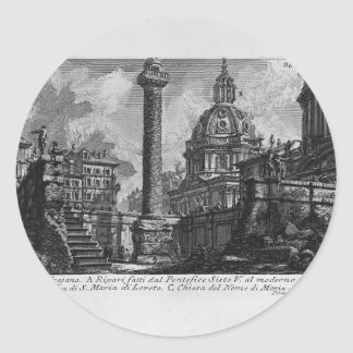 Columna del ` s de Juan Piranesi-Trajan Pegatina Redonda