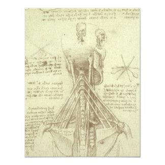 """Columna espinal de la anatomía humana de Leonardo Invitación 4.25"""" X 5.5"""""""