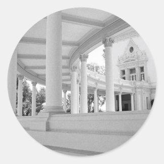 Columnata curvada vintage pegatina redonda