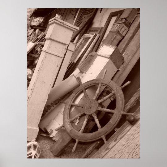 Columns Ship Wheel Vintage Salvage Baton Rouge Poster