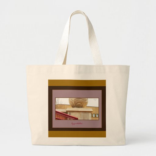 Columns Sphere and Red Railing 2 Large Tote Bag