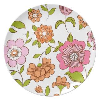 COM Flores del padrão Platos De Comidas