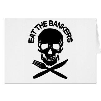 coma a los banqueros cráneo y huesos felicitación