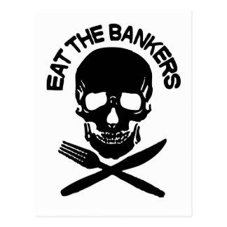coma a los banqueros cráneo y huesos postales