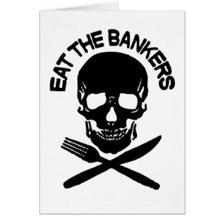 coma a los banqueros cráneo y huesos tarjeta de felicitación