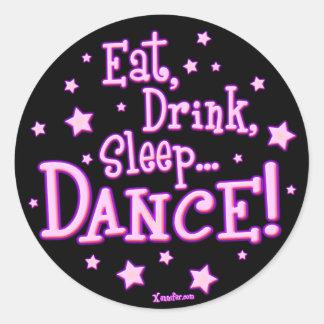 Coma a los pegatinas de la danza del sueño de la pegatinas redondas