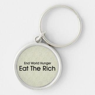 Coma a los ricos llavero personalizado