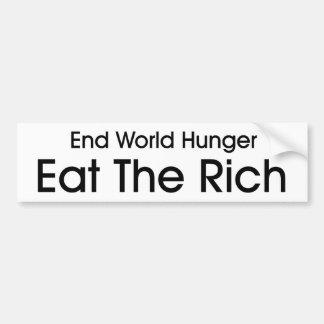 Coma a los ricos pegatina para auto