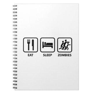 Coma a los zombis del sueño libro de apuntes con espiral