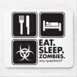 Coma a los zombis del sueño - negro tapetes de raton
