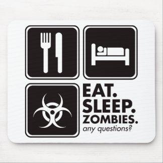 Coma a los zombis del sueño - negro alfombrilla de raton