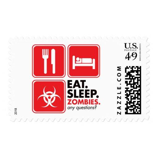 Coma a los zombis del sueño - rojo sello postal