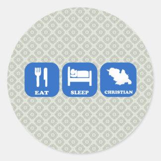 Coma al cristiano del sueño etiqueta redonda