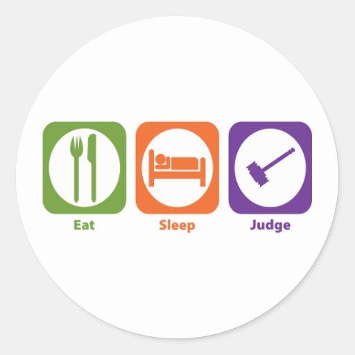 Coma al juez del sueño pegatina redonda
