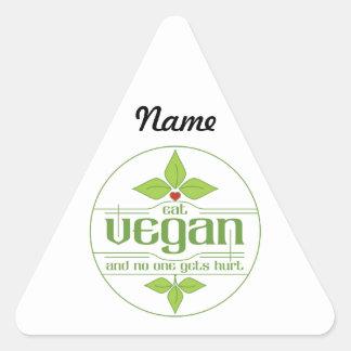 Coma al vegano y nadie consigue daño pegatina triangular