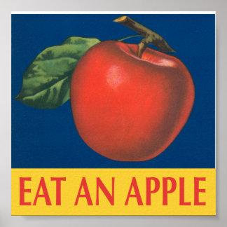 Coma Apple con el ejemplo del vintage Póster