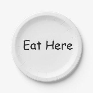 Coma aquí las placas platos de papel