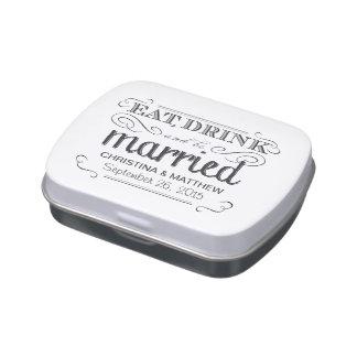 Coma, beba, sea estilo casado de la pizarra del vi latas de caramelos