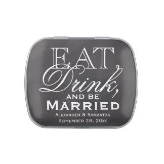 Coma, beba, sea favor casado del boda de la jarrones de dulces