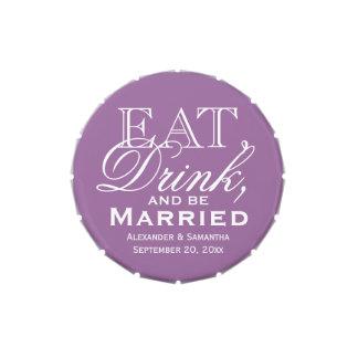 Coma, beba, sea favor de encargo púrpura casado frascos de caramelos