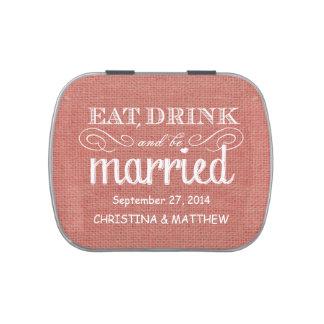 Coma, beba, sea favor rústico casado del boda de l jarrones de caramelos