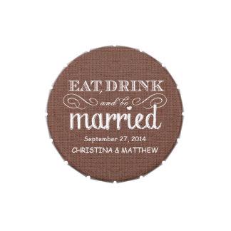 Coma, beba, sea favor rústico casado del boda de l latas de caramelos
