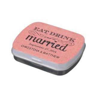 Coma, beba, sea favor rústico casado del boda de l frascos de caramelos