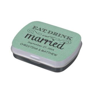 Coma, beba, sea favor rústico casado del boda de l frascos de dulces
