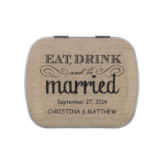 Coma, beba, sea favor rústico casado del boda de l jarrones de dulces