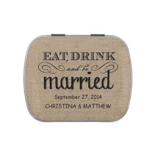 Coma, beba, sea favor rústico casado del boda de latas de caramelos