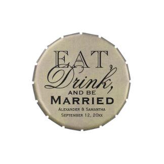 Coma, beba, y esté casado personalizó el boda frascos de caramelos