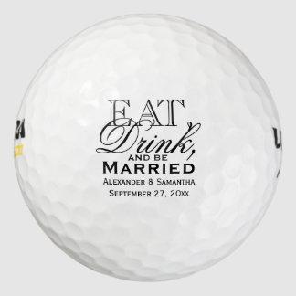 Coma, beba, y esté casado personalizó el boda pack de pelotas de golf