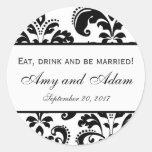 Coma, beba, y sea boda casado etiqueta redonda