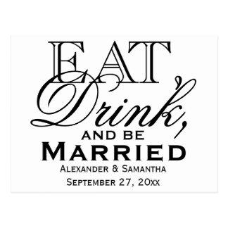 Coma, beba, y sea boda de encargo casado postal