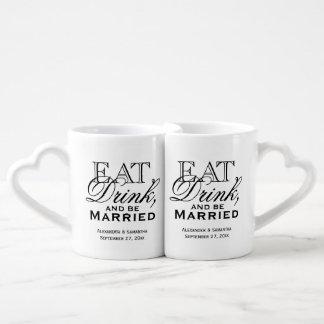Coma, beba, y sea boda de encargo casado tazas para parejas