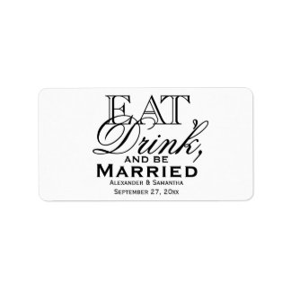 Coma, beba, y sea favor de encargo casado del boda etiquetas de dirección