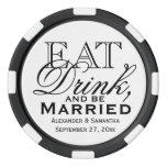Coma, beba, y sea favor de encargo casado del boda juego de fichas de póquer