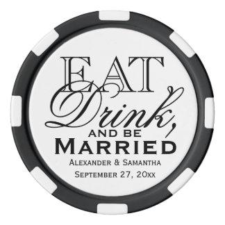 Coma, beba, y sea favor de encargo casado del boda fichas de póquer
