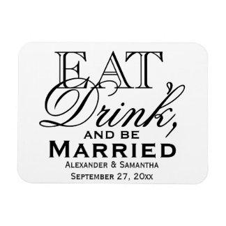 Coma, beba, y sea favor de encargo casado del boda imanes rectangulares