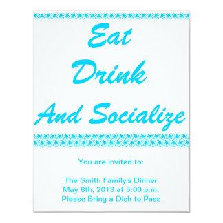 """Coma, beba y socialice invitación 4.25"""" x 5.5"""""""