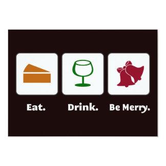 Coma. Bebida. Sea feliz. Invitaciones Anuncio Personalizado
