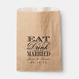 Coma, bebida y esté casado casando el bolso del bolsas de recuerdo