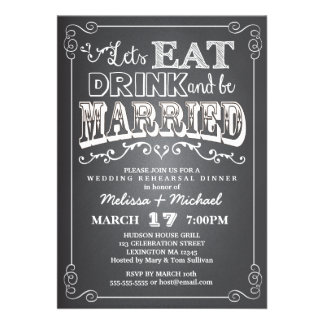 Coma bebida y esté casado casando la cena del ens invitación personalizada