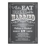 Coma, bebida y esté casado casando la cena del invitación personalizada