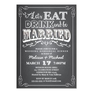 Coma, bebida y esté casado casando la cena del invitación 12,7 x 17,8 cm
