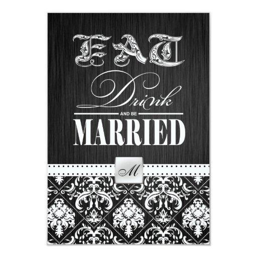 """Coma, bebida y esté casado - damasco blanco invitación 3.5"""" x 5"""""""